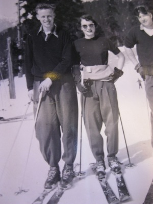 Mark and Gloria Andreassen skiing on the Cut at Grouse Mountain in 1950.